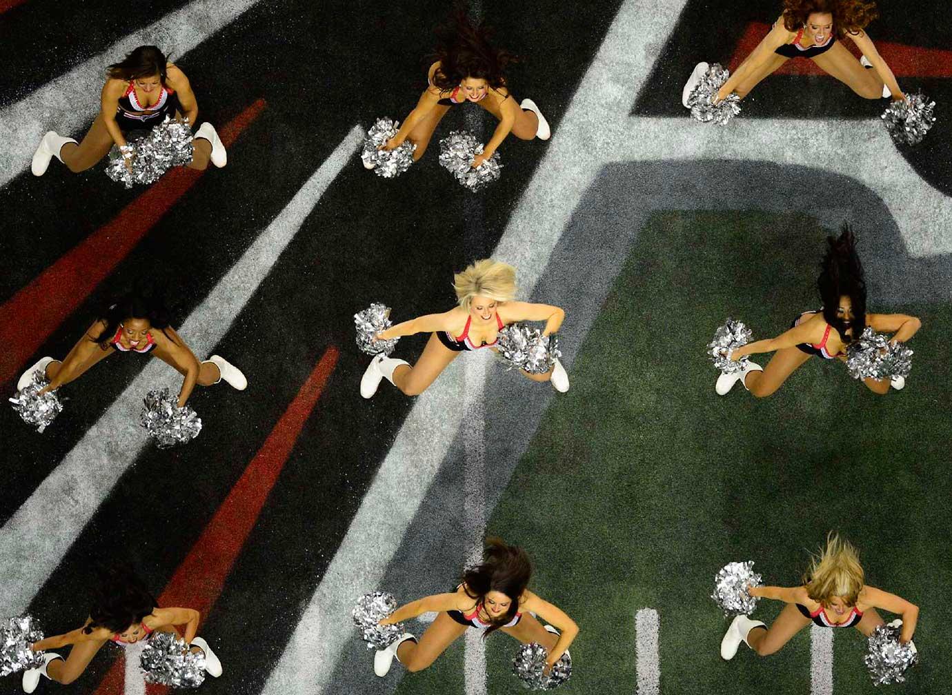 Atlanta Falcons cheerleaders during a 2013 NFC Conference playoff game between San Francisco and Atlanta.