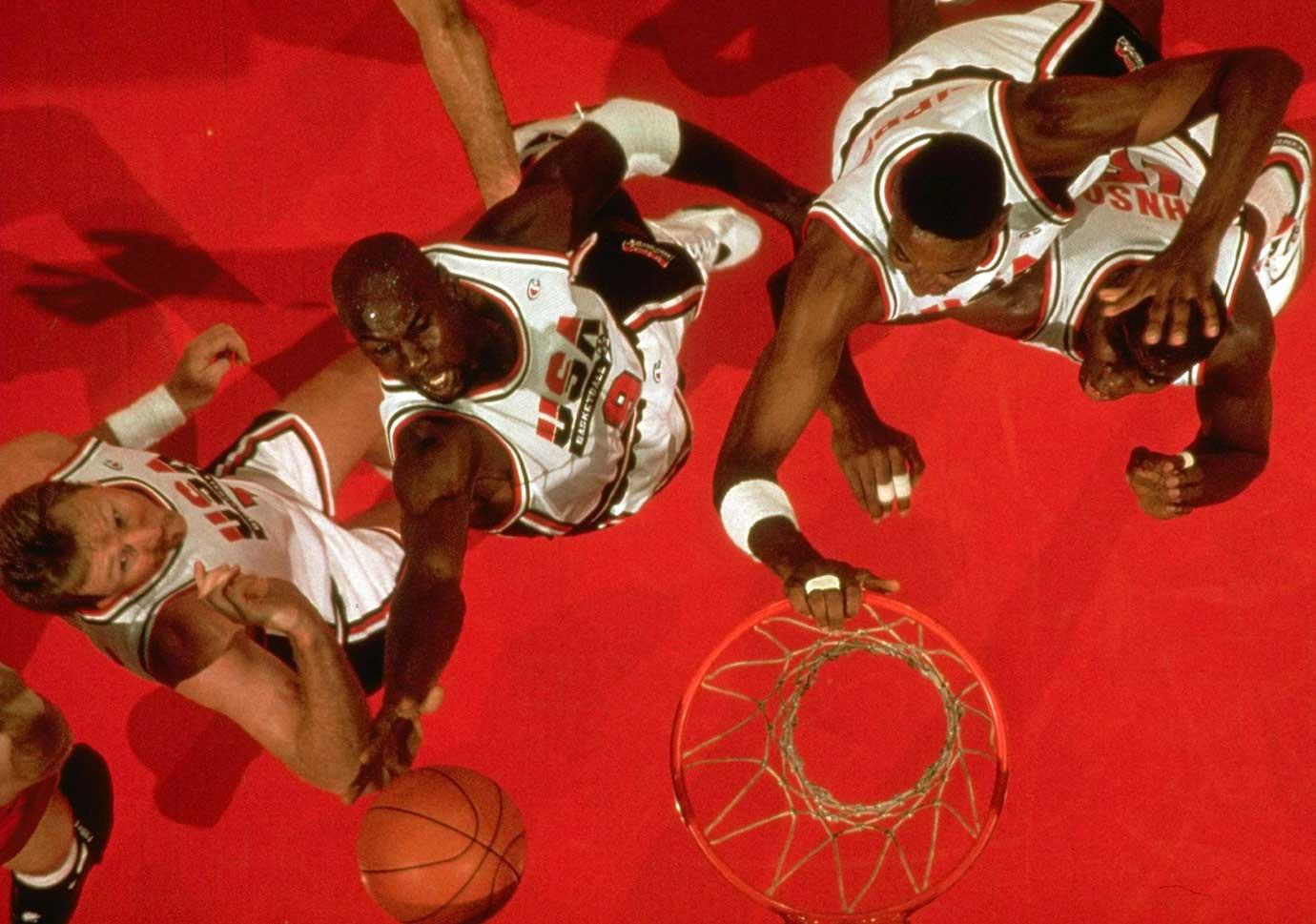 The Dream Team's Larry Bird, Michael Jordan, Scottie Pippen and Magic Johnson during the final against Croatia in 1992.