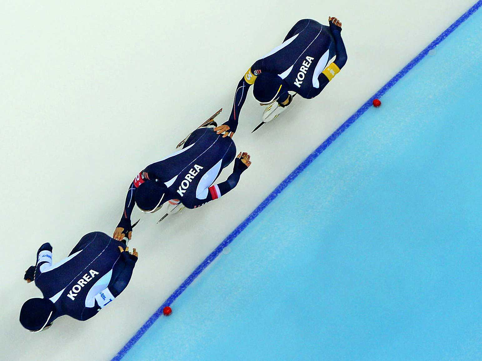Members of Korea's team pursuit squad at the Sochi 2014 Winter Olympic Games.