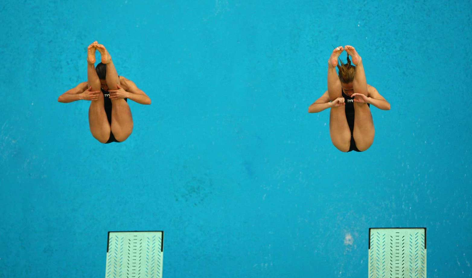 Julia Pakhalina, left, and Anastasia Pozdnyakova of Russia competing in the synchronized springboard final at the 2008 Summer Olympics in Beijing.