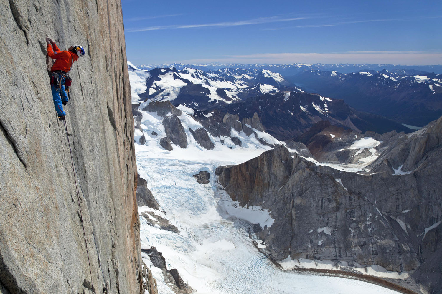 David Lama free climbing the headwall of Cerro Torre during the first free ascent of Cerro Torre's Southeast ridge during the third expedition in Patagonia, Argentina.