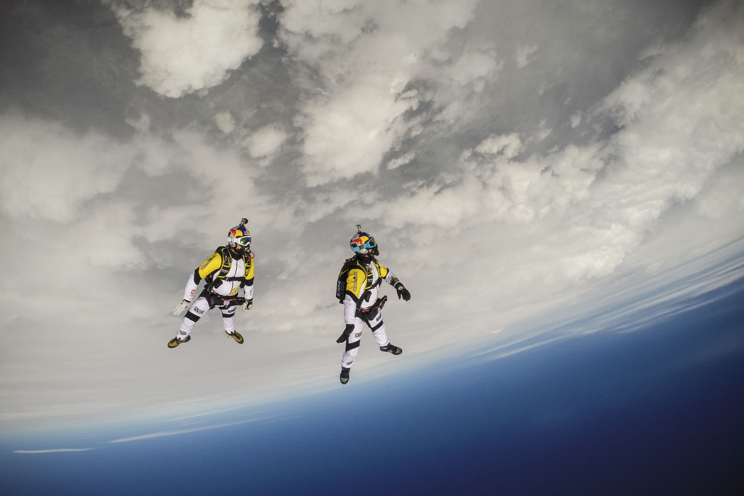 Soul Flyers Fred Fugen and Vincent Reffet during training in Austria for The Ultimate Skydiving Combo, skydiving from 33 000 feet above the Mont Blanc.