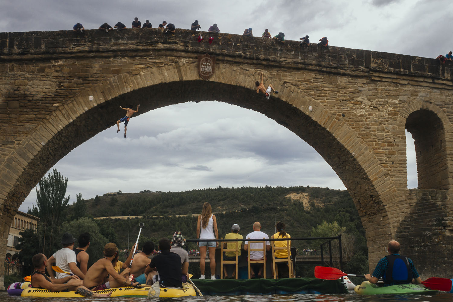 Daniel Fuertes (L) and Chris Sharma (R) compete during the Red Bull Creepers in Puente la Reina-Gares, Spain.