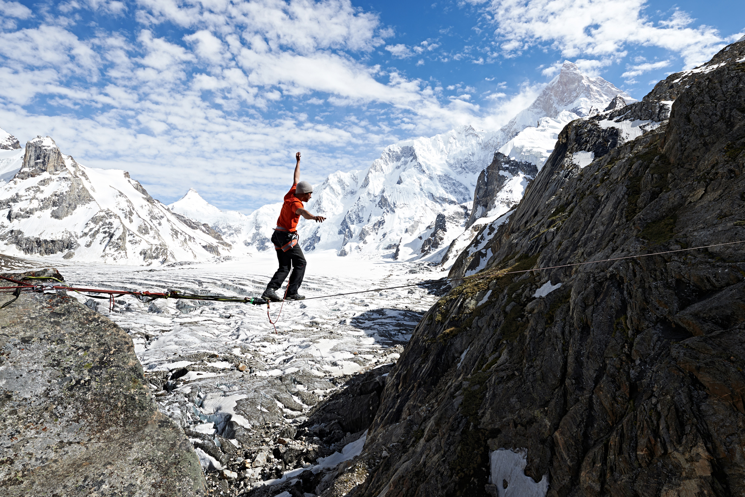 David Lama on his way to the Masherbrum in Pakistan .
