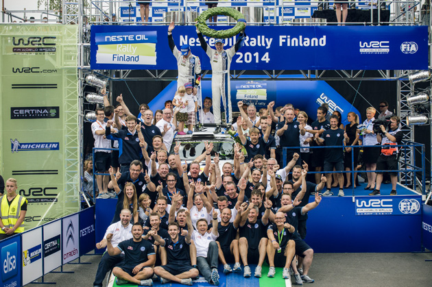 Jari-Matti Latvala celebrates at the FIA World Rally Championship.