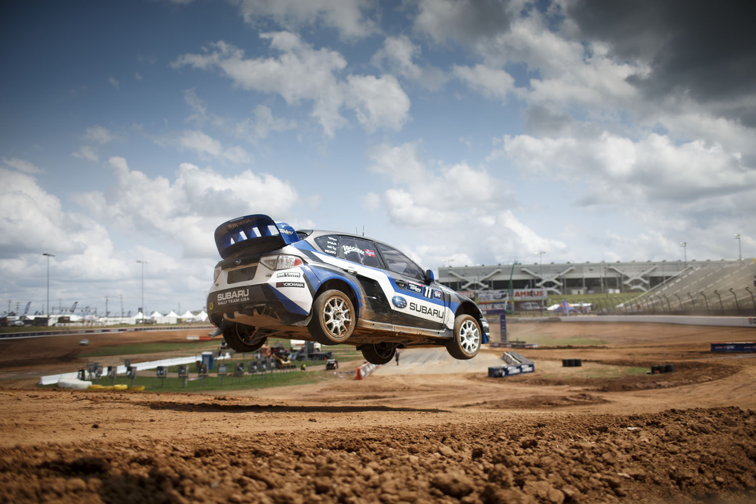 Sverre Isachsen catching some air at round 5 of the Red Bull Global Rallycross series at Charlotte Motor Speedway.