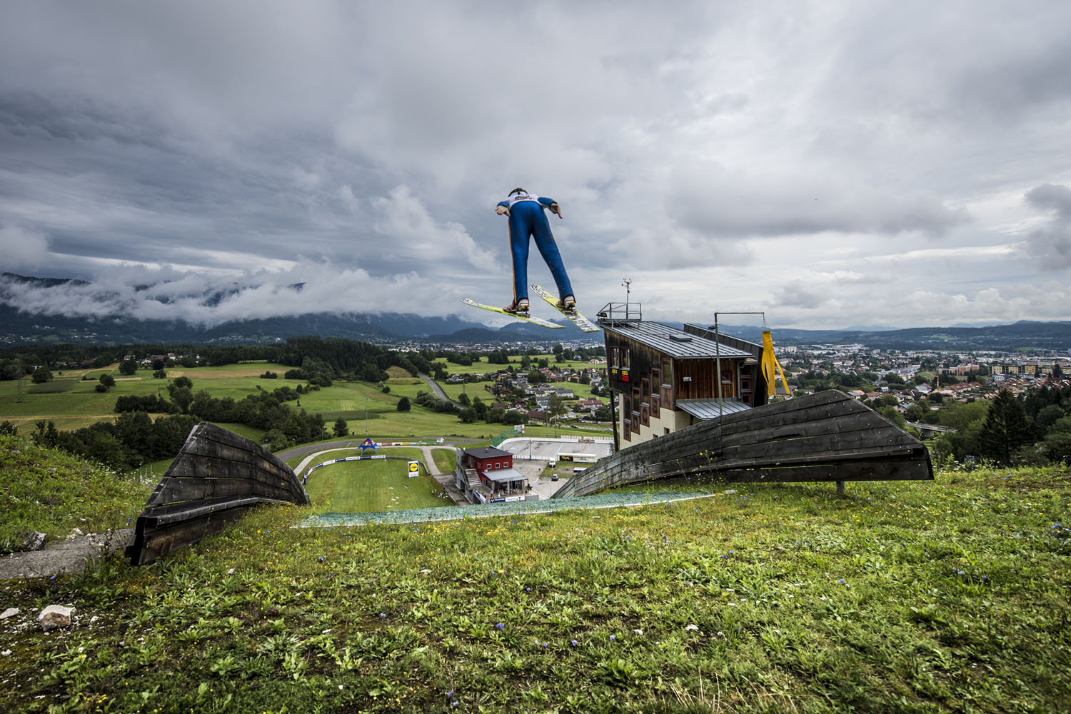 A skier takes the leap during the Goldi Sommercamp in Villach, Austria.