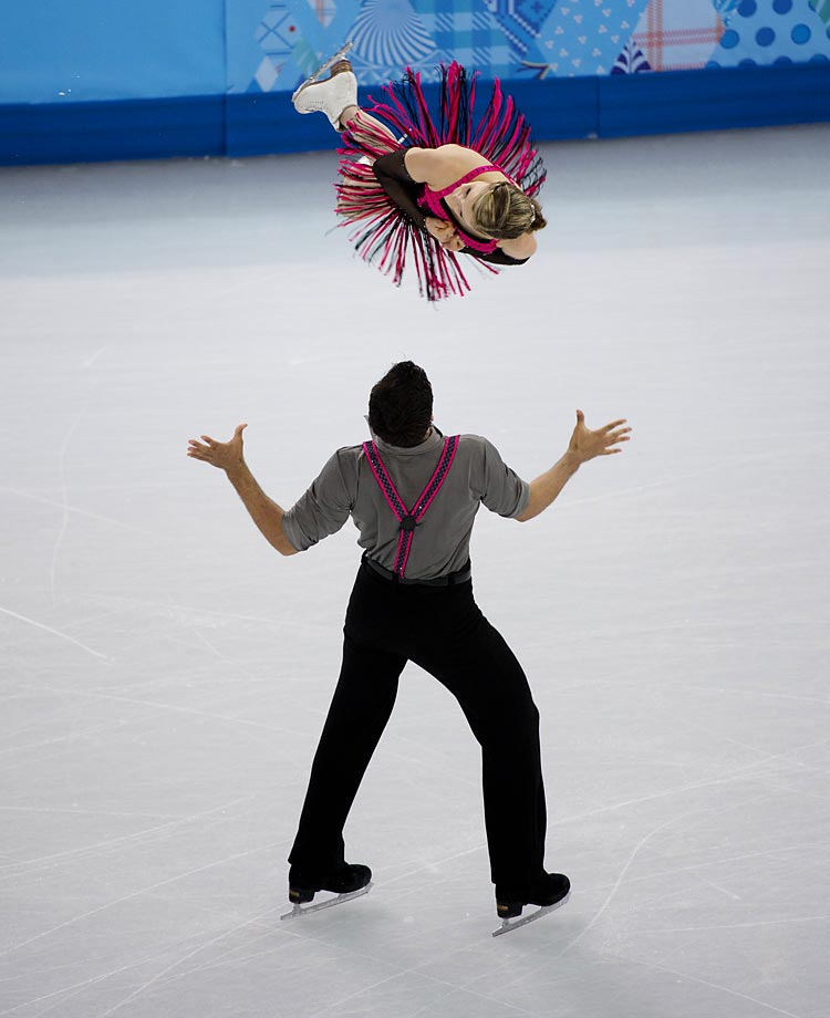Paige Lawrence and Rudi Swiegers of Canada during the Pairs Short Program.