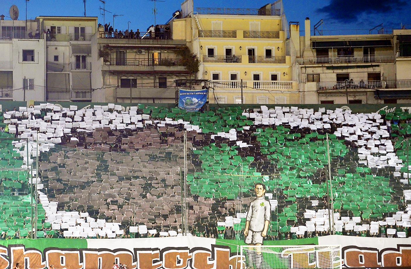 Panathinaikos Athens fans display a banner during the UEFA Europa League match against Dynamo Moscow.
