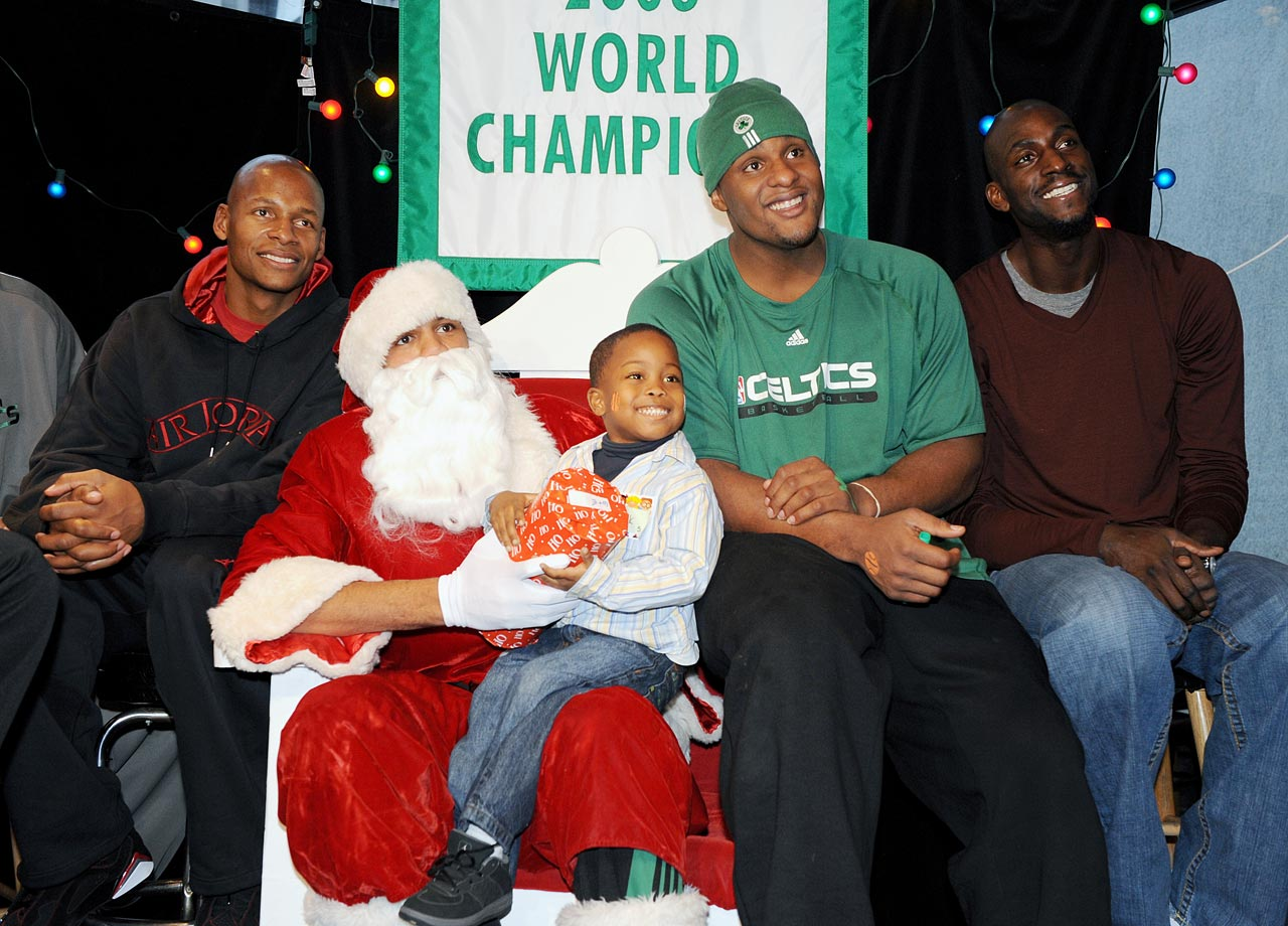 with Ray Allen, Glen Davis and Kevin Garnett