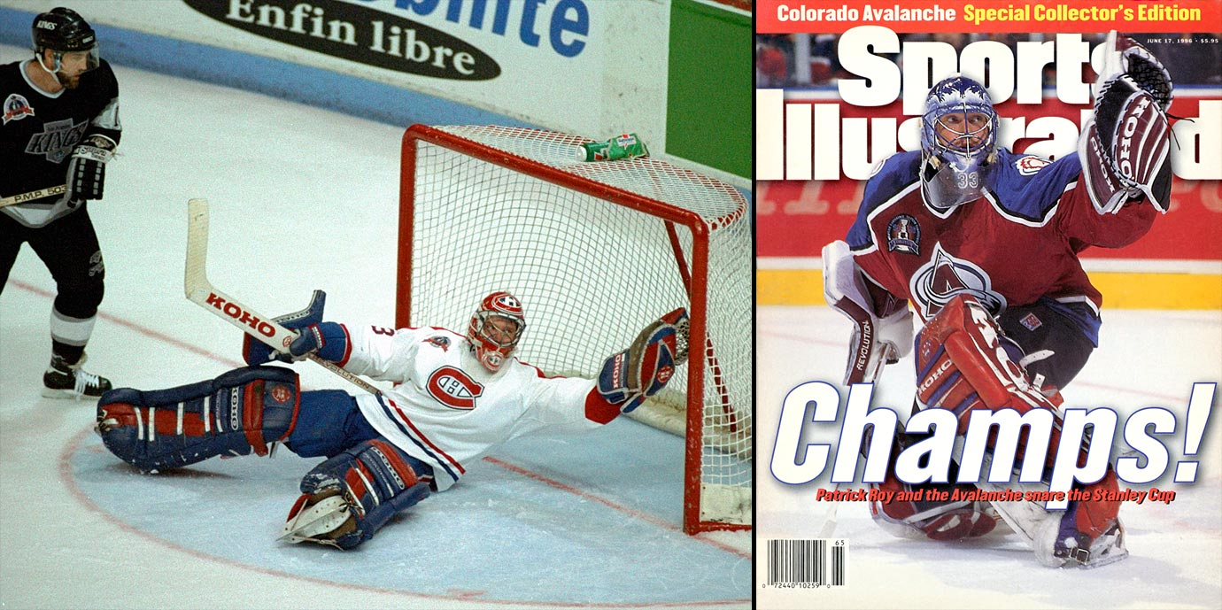 Patrick Roy dominated the NHL for 18 seasons while popularizing the butterfly style: pads to the ice, stick covering the five-hole as he dared shooters to find the slivers of space above his shoulders. Fearless, smart, technically precise, iron-willed and cocky, no goalie has more postseason wins (151) than Roy, while winning three Vezina Trophies and four Stanley Cups.