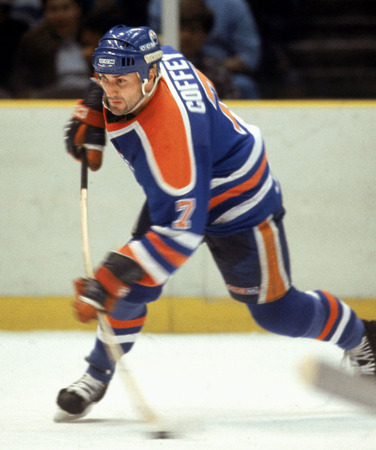 No defenseman since Bobby Orr has been as gifted. On the run-and-gun Oilers, the smooth-skating Coffey was deadly on the power play or the rush as a fourth man, a stealth trailer who feasted on chances produced by the likes of Wayne Gretzky, Mark Messier, Jari Kurri and Glenn Anderson. After winning three Cups with Edmonton, where he scored 48 goals in 1985-86, he added another with the Penguins in 1991, making him one of the fortunate few to ride shotgun with both Gretzky and Mario Lemieux in their heydays.