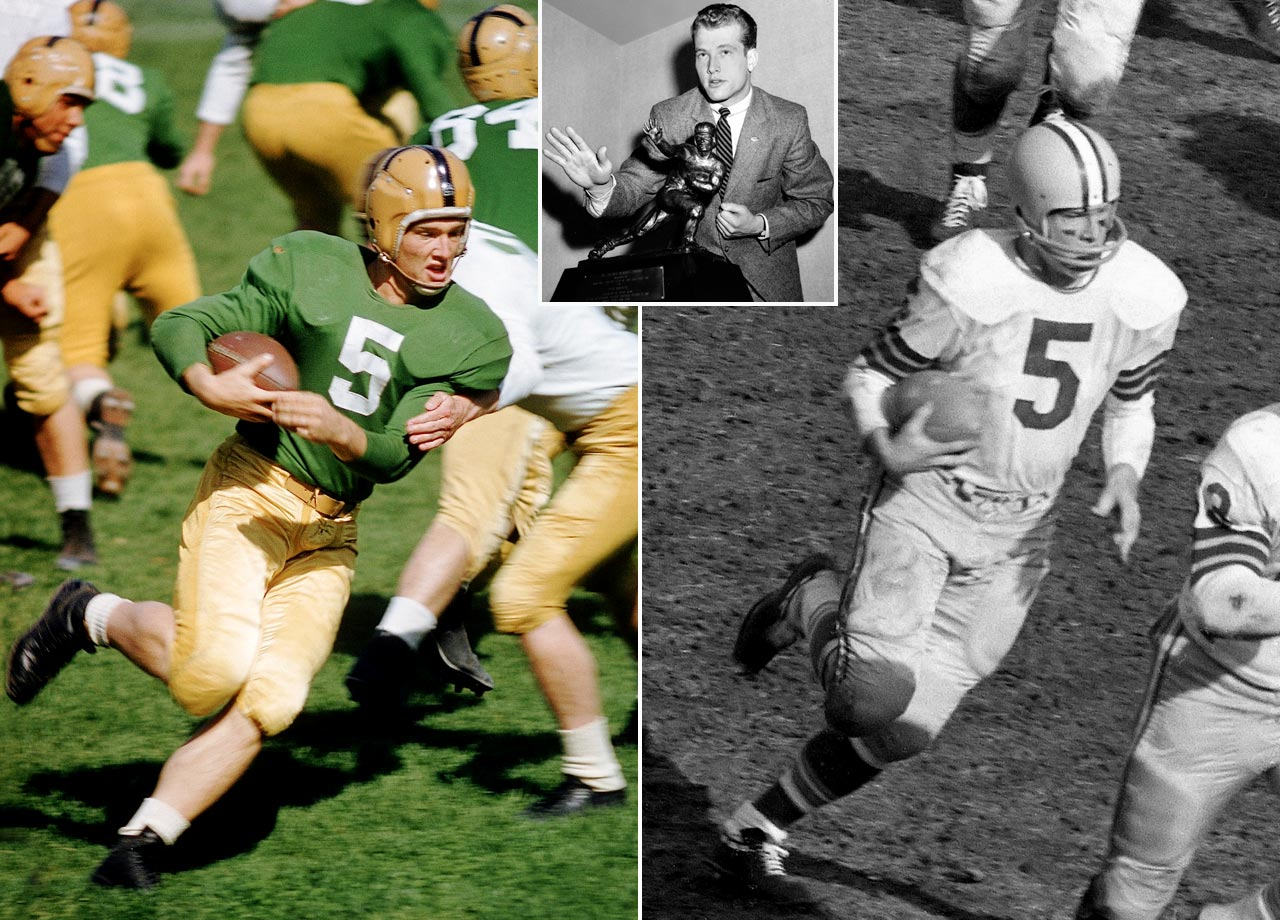After winning the 1956 Heisman Trophy, Hornung became a key component in the Packers dynasty of the 1960s, earning Player of the Year honors in 1960 and 1961. He played multiple positions, including halfback, quarterback and placekicker. He retired with 3,711 yards rushing and 1,480 receiving yards.