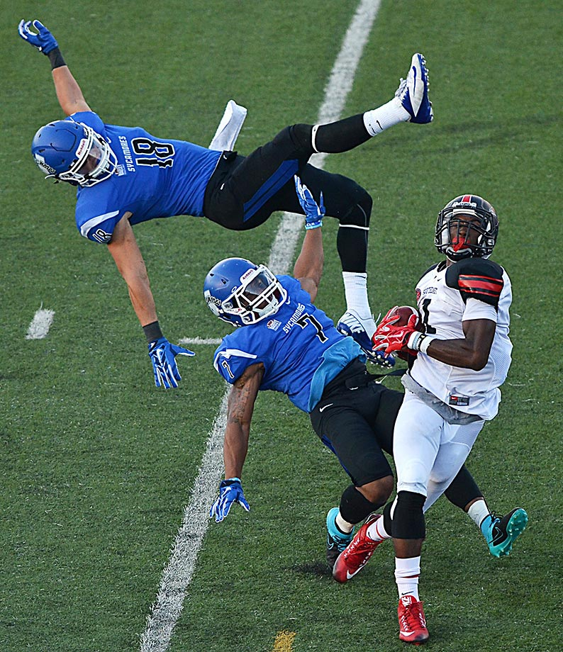 Paul McRoberts of Southeast Missouri comes away with the catch against Indiana State.