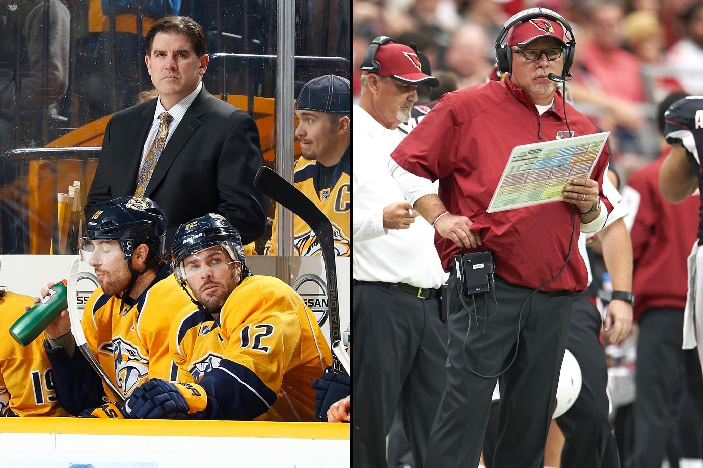 The Predators made Laviolette, a veteran of 12 seasons with the Islanders, Hurricanes, and Flyers (with whom he was reportedly paid between $1-$2 million), the second head coach in Nashville's franchise history with a multi-year deal in May 2014. The Toronto Sun says he as well as Therrien, Vigneault, and Ruff are members of the $2 million club. Arians, the former offensive coordinator of the Colts, signed on with the Cardinals in January 2013 for four years at $6 million per according to NFL.com.