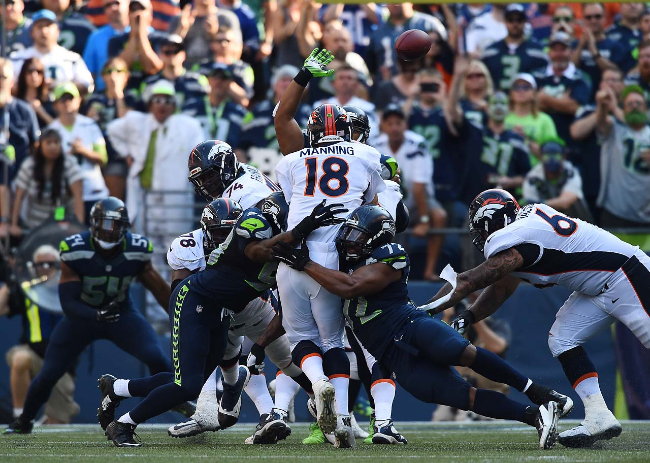 The Seattle defense kept the heat on Peyton Manning all day.