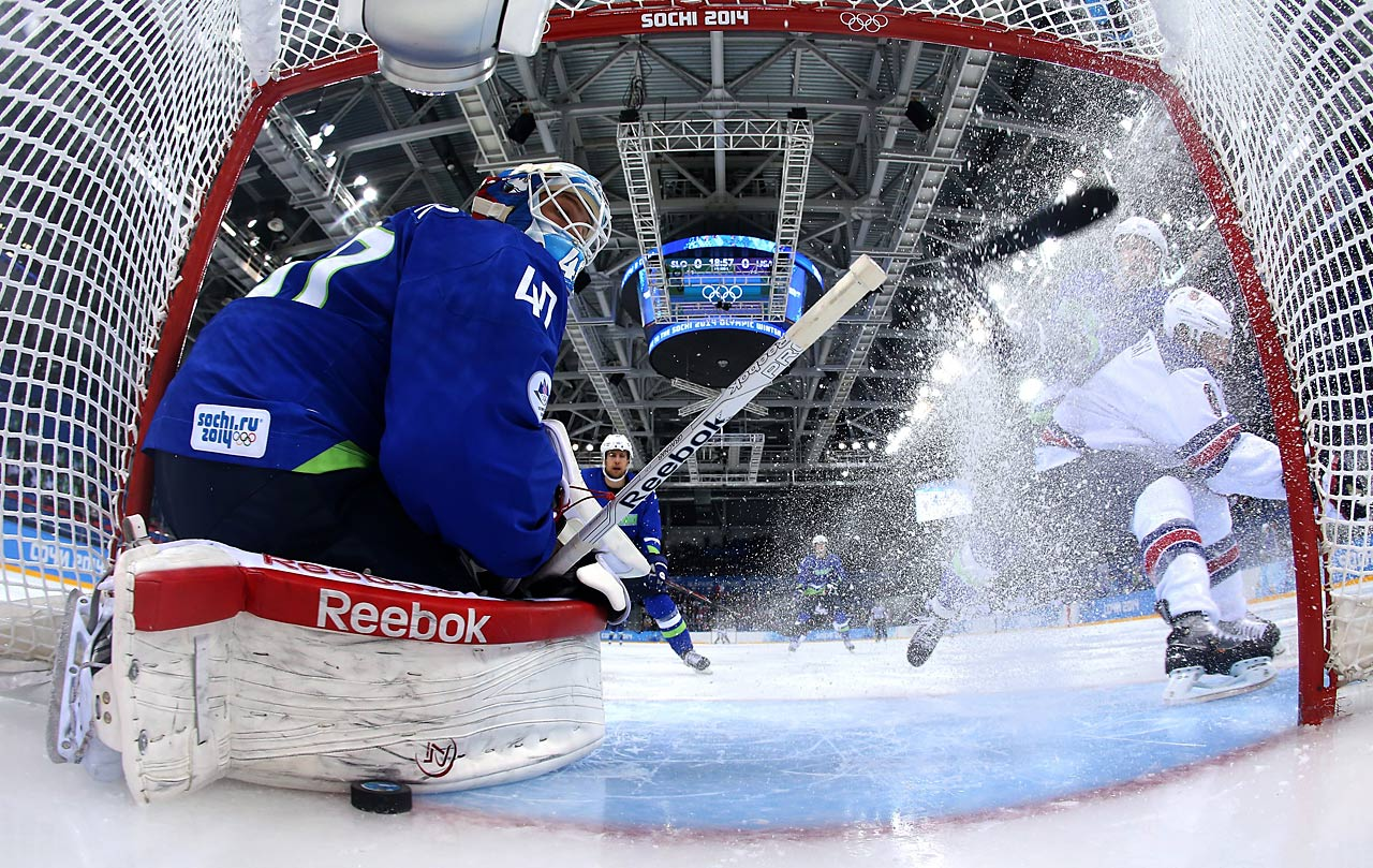 Phil Kessel had a hat trick against Slovenia, including this goal past Joe Pavelski.