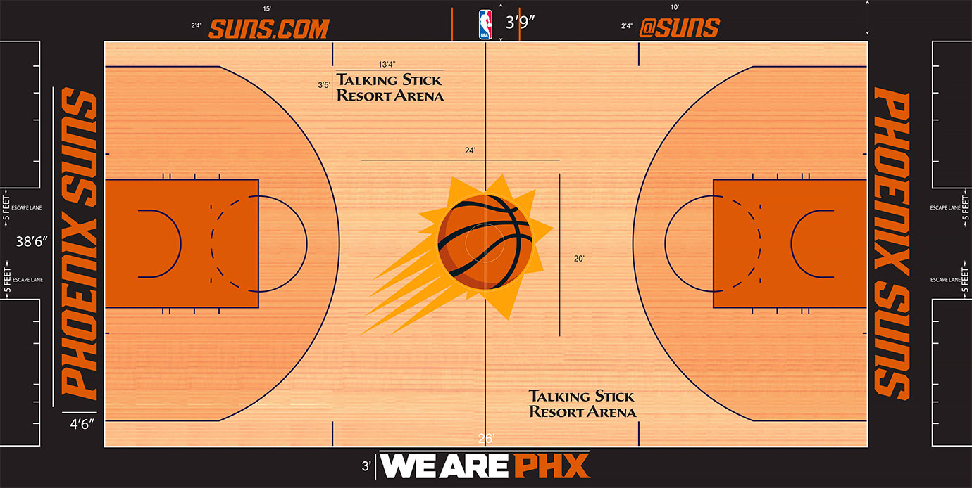 "The sunburst logo returned to center court this season after a decade of absence, but eliminated the ""Suns"" ambigram, which could be read correctly from either side. Along with it came a reappearance of purple lines and a two-toned stain with lighter stain outside the three-point arc and darker inside."