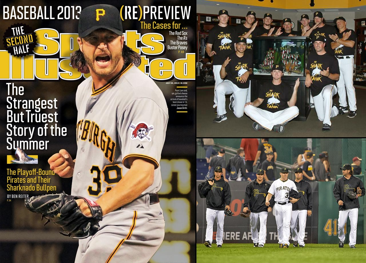 Pittsburgh's relievers were a large part of the Pirates success in 2013, so, in the tradition of great Pittsburgh sports units of the past, such as the Steel Curtain and the Lumber Company, the bullpen acquired a nickname: The Shark Tank.  Mark Melancon, who went shark-cage diving off New Zealand two years earlier and had a great white named after him, came up with the nickname.  And as closer Jason Grilli said, ''we've got a lot of sharks out in that bullpen. When we smell blood, we attack.''