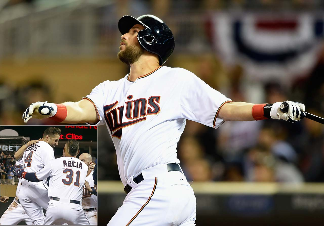 Trevor Plouffe of the Twins hit the first walk-off home run of the season, an 11th inning blast on April 17 that pushed Minnesota past Cleveland, 3-2.