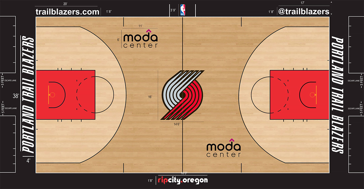 "While we don't love the dark stain outside the three-point arc and the light stain inside, it seems to work in Portland, maybe because the medium-sized pinwheel logo going only 16 feet tall doesn't overwhelm. Plus, we love ""Rip City, Oregon"" on the apron."