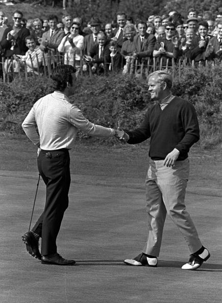1969 Ryder Cup, Birkdale, Lancashire, America 16 v Great Britain and Ireland 16, Great Britain's Tony Jacklin shakes hands with USA's Jack Nicklaus