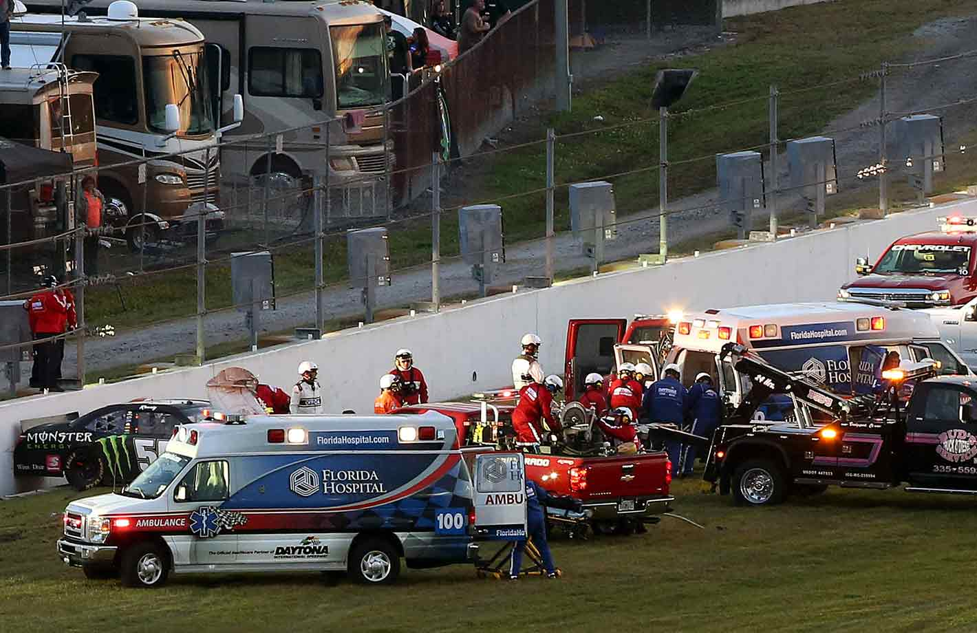 On the eve of making his 2015 Sprint Cup debut at Daytona, the Joe Gibbs Racing pilot veered away from an Xfinity race and crashed hood-first into a concrete interior wall. He sustained a compound fracture in his lower right leg, a small fracture in his left foot and a sprained finger. In recovery, he wondered whether his days as a pro racer were through, but he returned to the Cup series four months later and won four of five races. After being granted a waiver into the Chase, he points-raced his way to Homestead and prevailed in that winner-take-all contest on a final restart on the way to his first series championship.