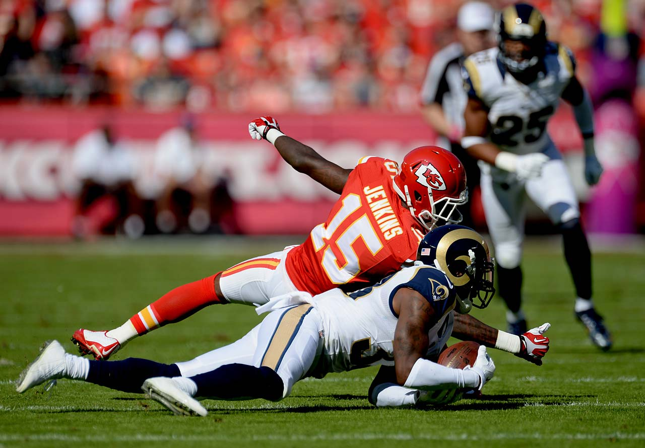 This would-be interception by the Rams was wiped away by an illegal contact penalty.