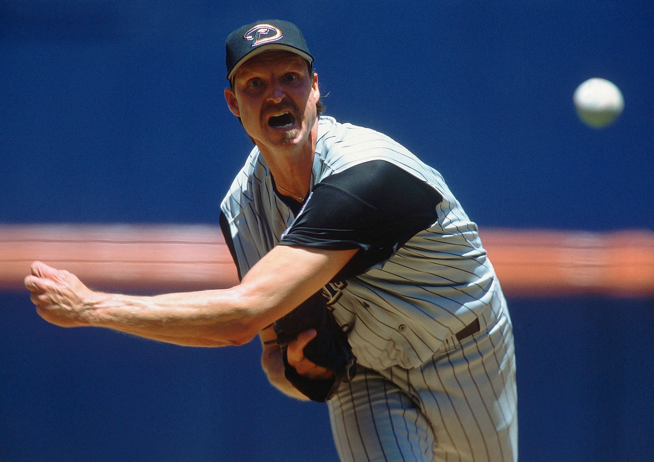 "The 6' 10"" lefty dominated hitters for 22 years during stints with six teams. He made 10 All-Star teams and won five Cy Young Awards. The Big Unit posted a career 303-166 record, 3.29 ERA and struck out 4,875 batters. His 10.6 K/9 innings is most in baseball history."