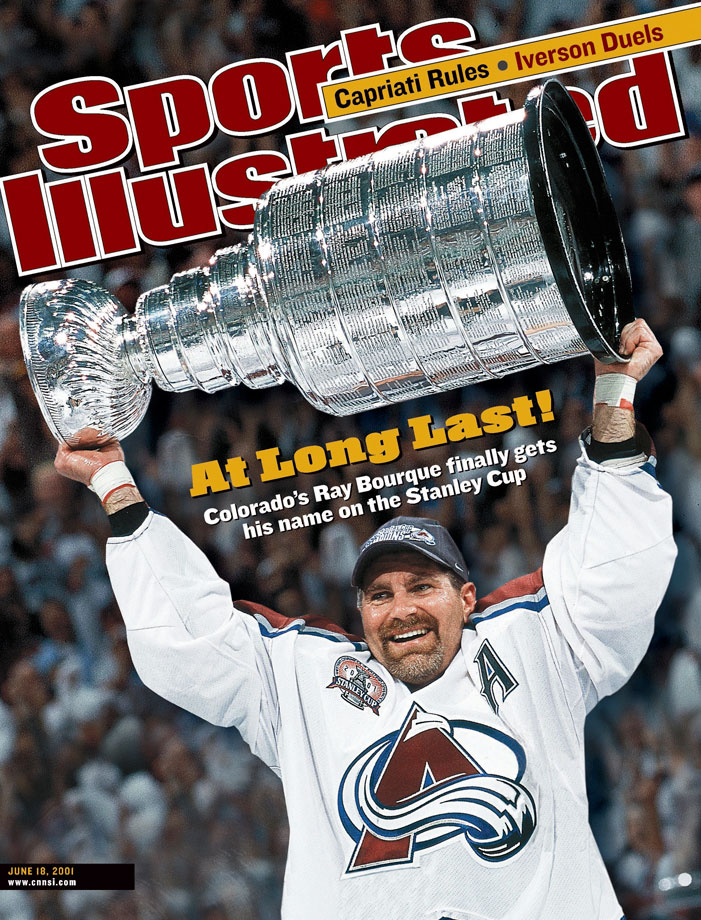 Boston's iconic, high-scoring backliner was dealt to Colorado at the deadline, hoping to finally win the Cup. The Avs fell in the Western Conference final, but Bourque ultimately sipped from the chalice in 2001—his 22nd and final season—after contributing 10 points in 21 postseason games.