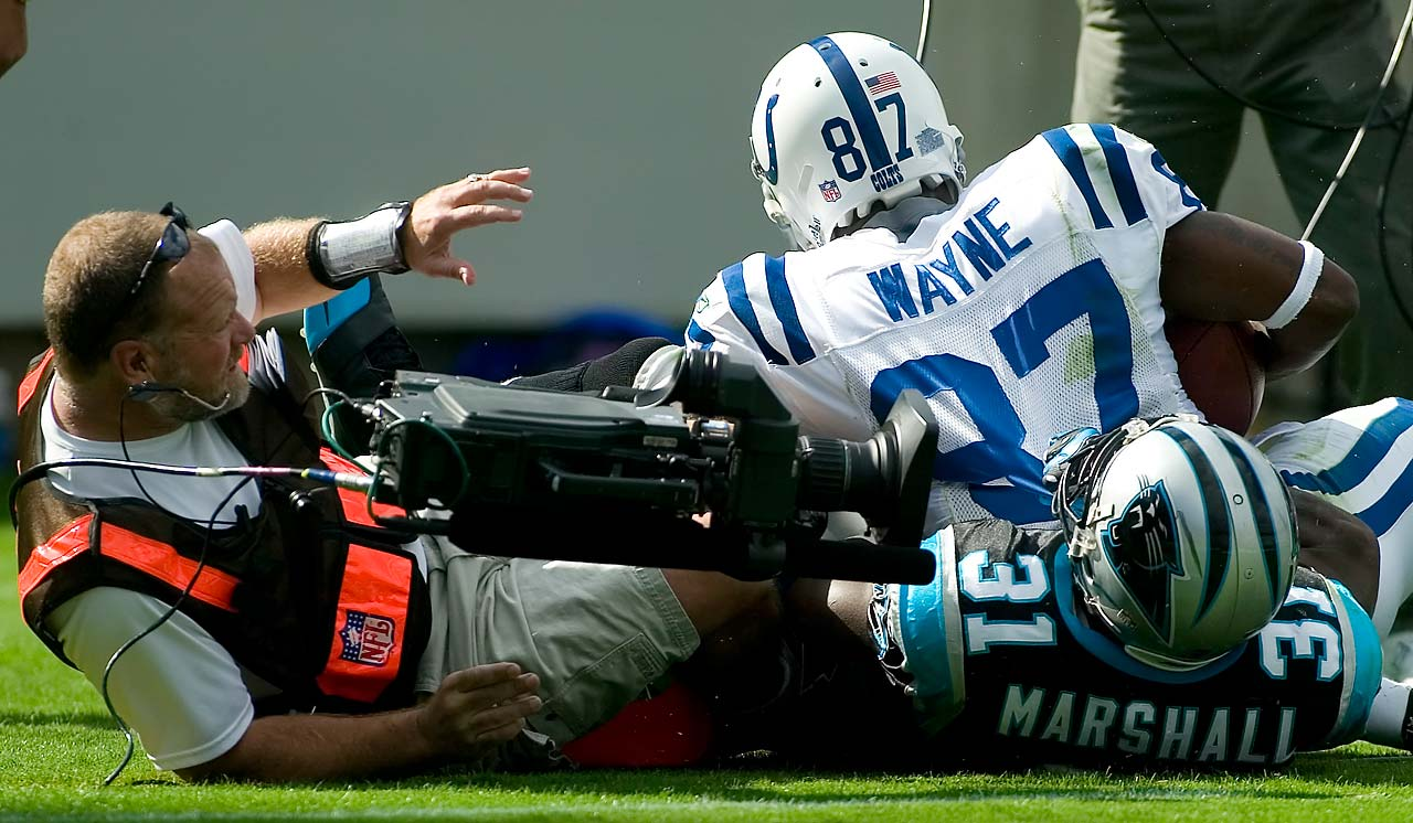 Reggie Wayne and Richard Marshall collided with an NFL Films cameraman in an October 2007 NFL game in Charlotte.