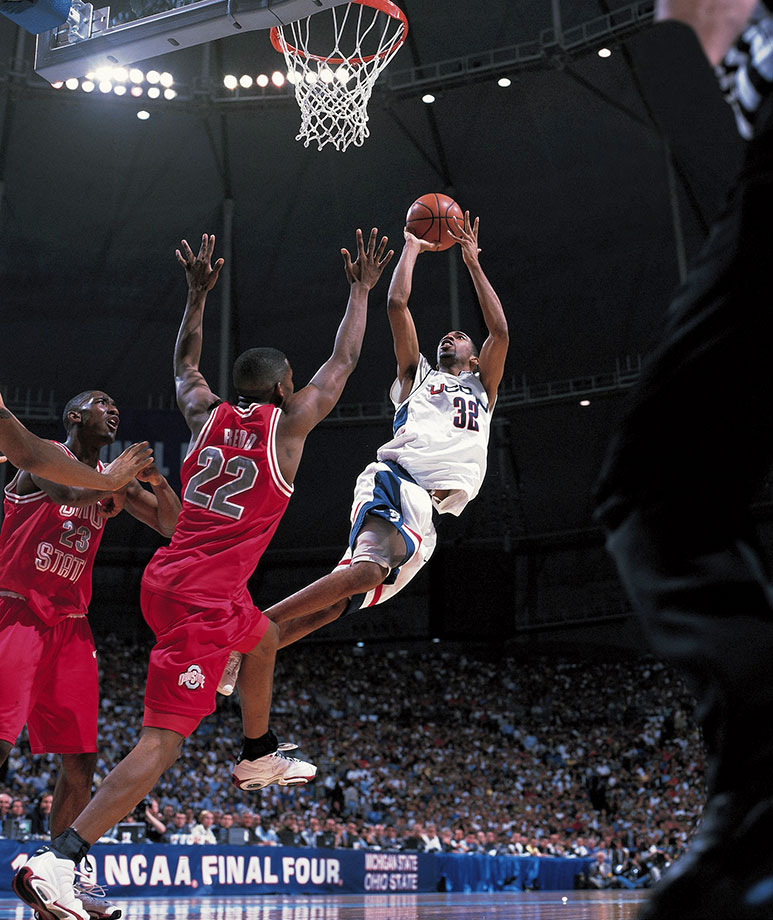 Trailing by one with a second remaining, Hamilton hit a fadeaway jumper to beat Washington in the 1998 NCAA tournament. Although the Huskies lost in the Elite Eight that year, the shot helped set the stage for Hamilton's dominance in the 1999 tournament, when he steered Connecticut to a national championship. Hamilton scored 27 points with seven rebounds in the final as Connecticut beat Duke 77-74. He was named the Most Outstanding Player of the tournament. The two-time Big East Player of the Year spent three years hitting big shots for the Huskies, averaging 21.5 points per game as a junior and senior.