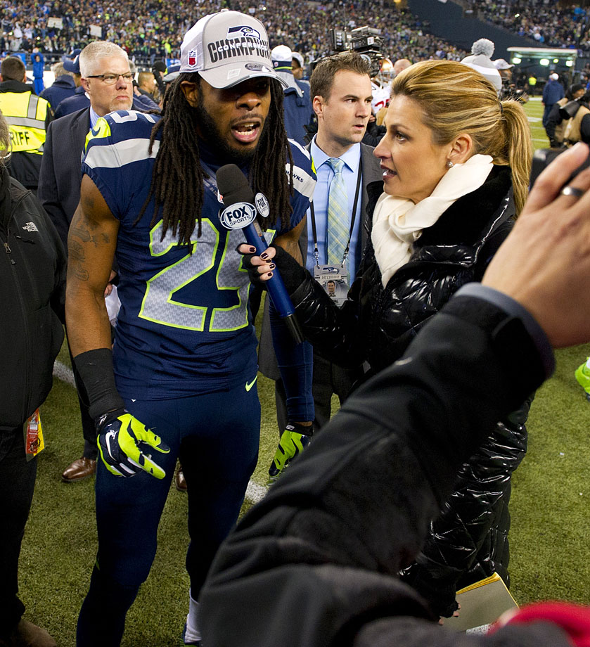 Richard Sherman has a few things to say about Michael Crabtree to Fox Sports' Erin Andrews following the NFC Championship Game.