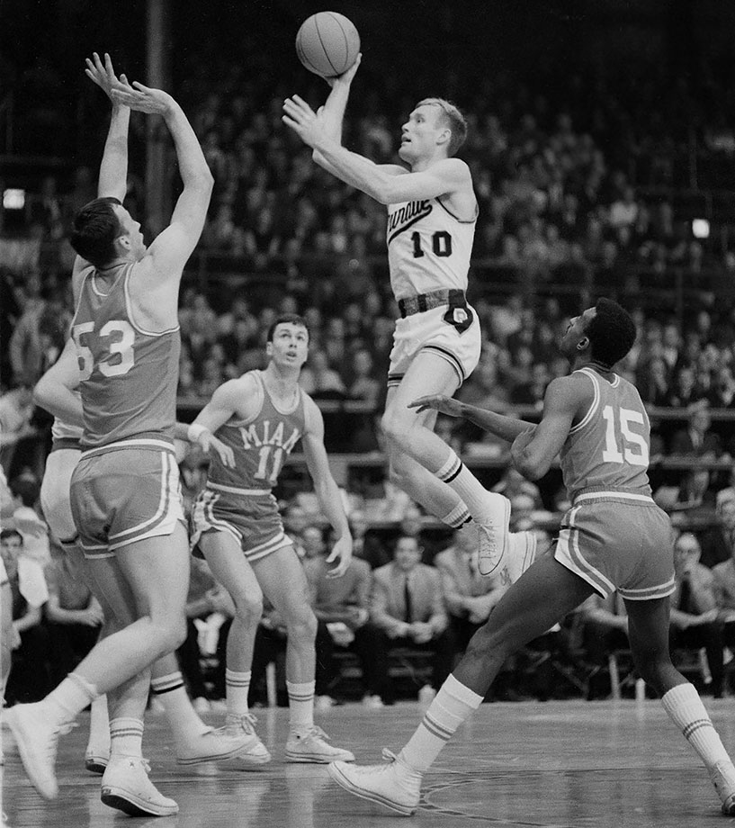 Mount learned to shoot by trying to loft a tennis ball into a peanut can. The unusual method worked as Mount became one of the most prodigious scorers in Big Ten history. Mount led Purdue to the 1969 national championship game, where the Boilermakers lost to Lew Alcindor's UCLA squad. Mount got Purdue to the title game, hitting a game-winner with two seconds left in overtime to defeat Marquette in the Elite Eight. The two-time Big Ten Player of the Year averaged between 28.5 and 35.4 points per game in his three varsity seasons, the latter a Big Ten record. He scored 61 points against Iowa his senior year but would have had 74 points had the three-point line existed. Still, he still holds the Big Ten record for points in a game.