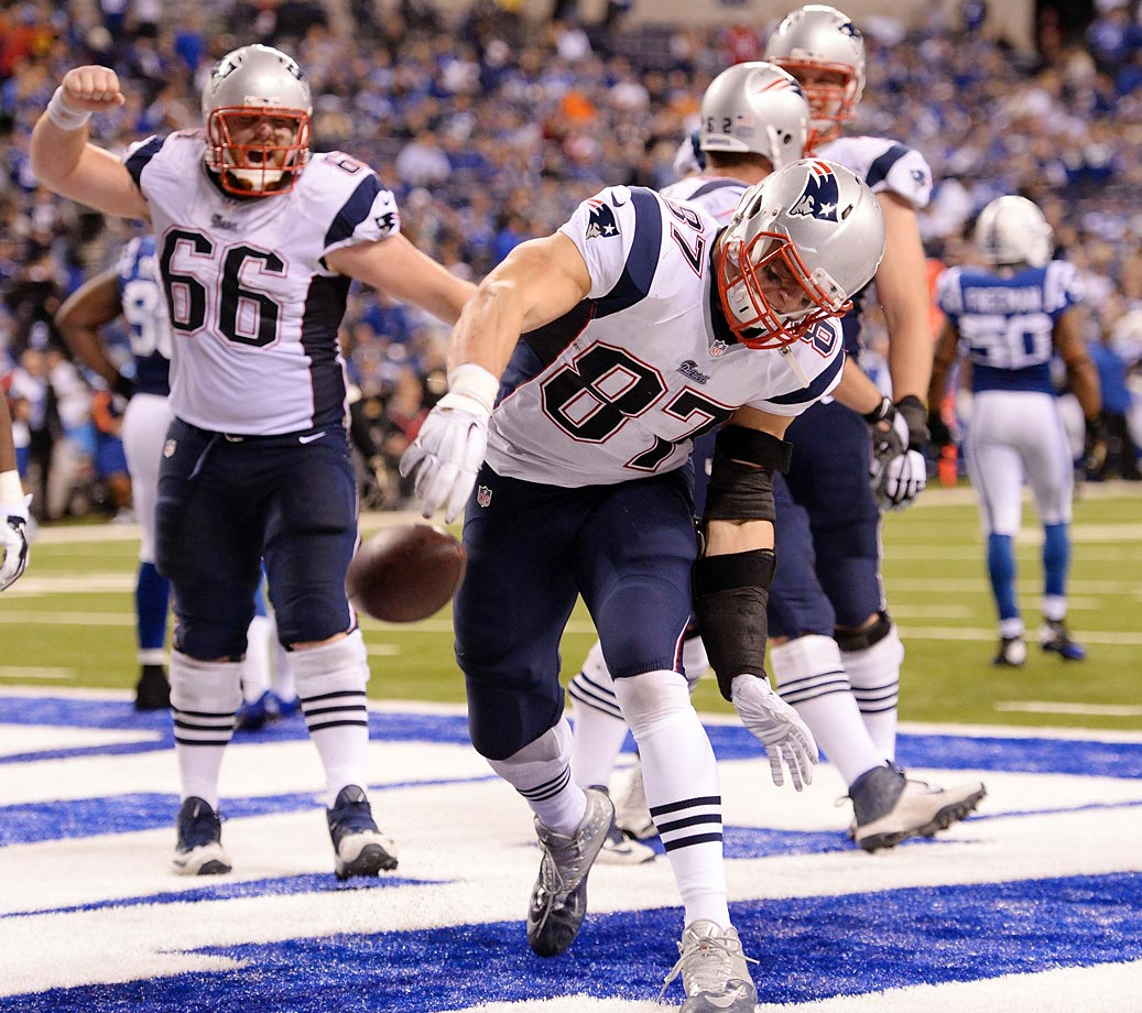 Rob Gronkowski celebrates his touchdown reception in the Patriots' Sunday night win over the Colts.