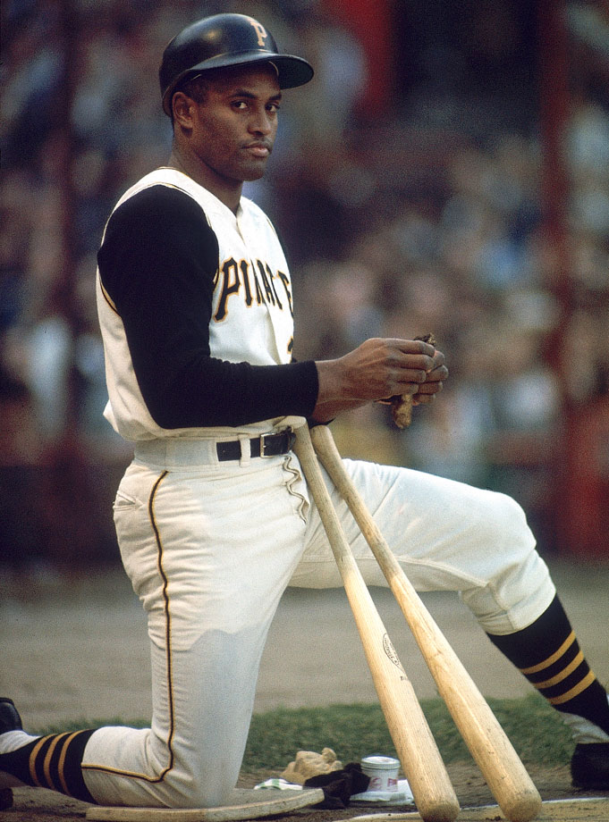 Clemente, a native of Puerto Rico, spent all 18 of his MLB seasons with the Pittsburgh Pirates and won 12 Gold Gloves, four batting titles and was named to the All-Star team 15 times. He is the first Hispanic player to win a World Series as a starter (1960), win a league MVP award (1966) and win a World Series MVP award (1971).