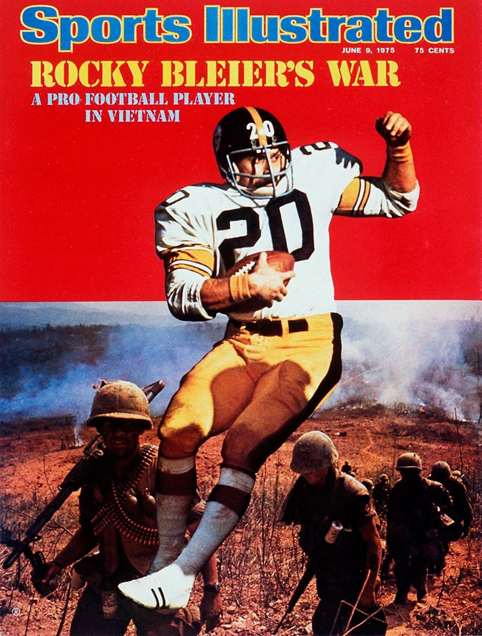 A 14th-round pick out of Notre Dame in 1968, Bleier had been drafted into the Army December of that year, after his rookie season, and was sent to Vietnam in May 1969.  Bleier recovered from gunshot and grenade injuries for which he received the Purple Heart and the Bronze Star, and returned to the Steelers after his service. After several seasons fighting for a roster spot, he became a starter in 1974 and went on to win four Super Bowl rings with Pittsburgh, playing in the backfield alongside Franco Harris.