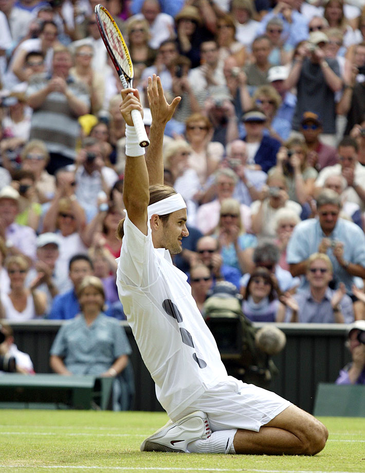 Federer hadn't advanced past the quarterfinals at a major before it all came together at Wimbledon in 2003. Seeded fourth, the 20-year-old Federer defeated Mark Philippoussis in straight sets in the final to become the first Swiss man to win a Grand Slam title.
