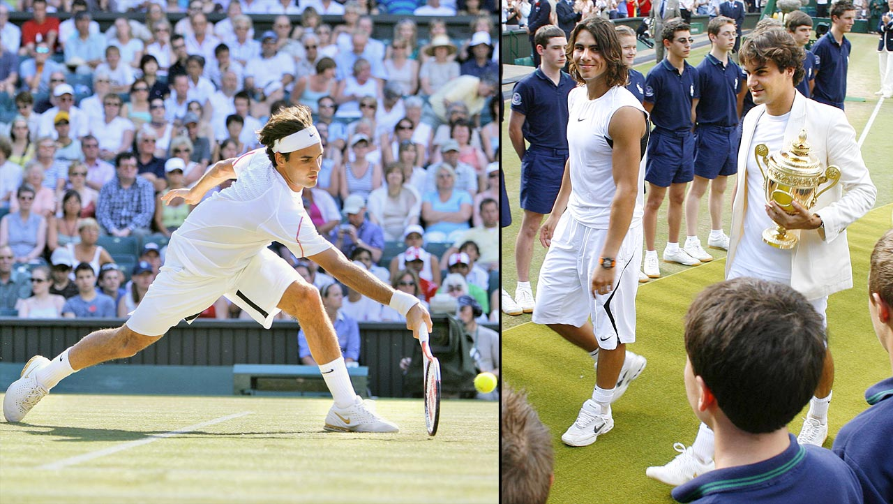 Federer had been 1-6 lifetime against Rafael Nadal, including a loss in the 2006 French Open final, before subduing the Spaniard for his fourth Wimbledon championship in a row. But in pushing Federer to four sets in the final, Nadal served notice that he was more than just a clay-court wizard.