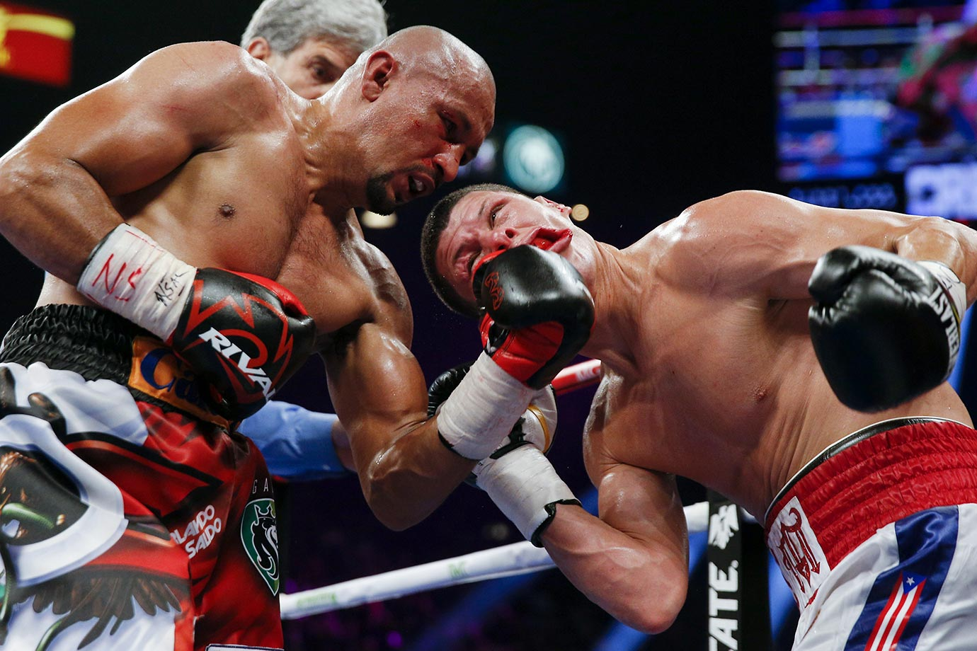 Orlando Salido punches Roman Martinez during their junior lightweight title boxing bout in Las Vegas.