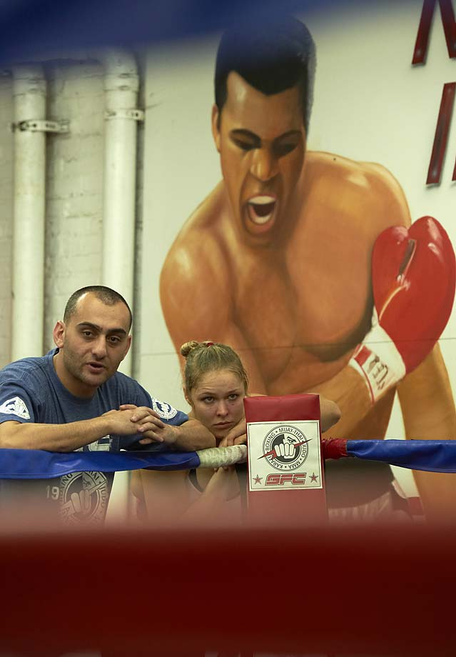 Ronda Rousey during training session with coach Edmond Tarverdyan at Glendale Fighting Club.