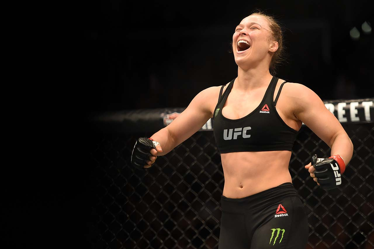 Ronda Rousey celebrates her victory over Cat Zingano.