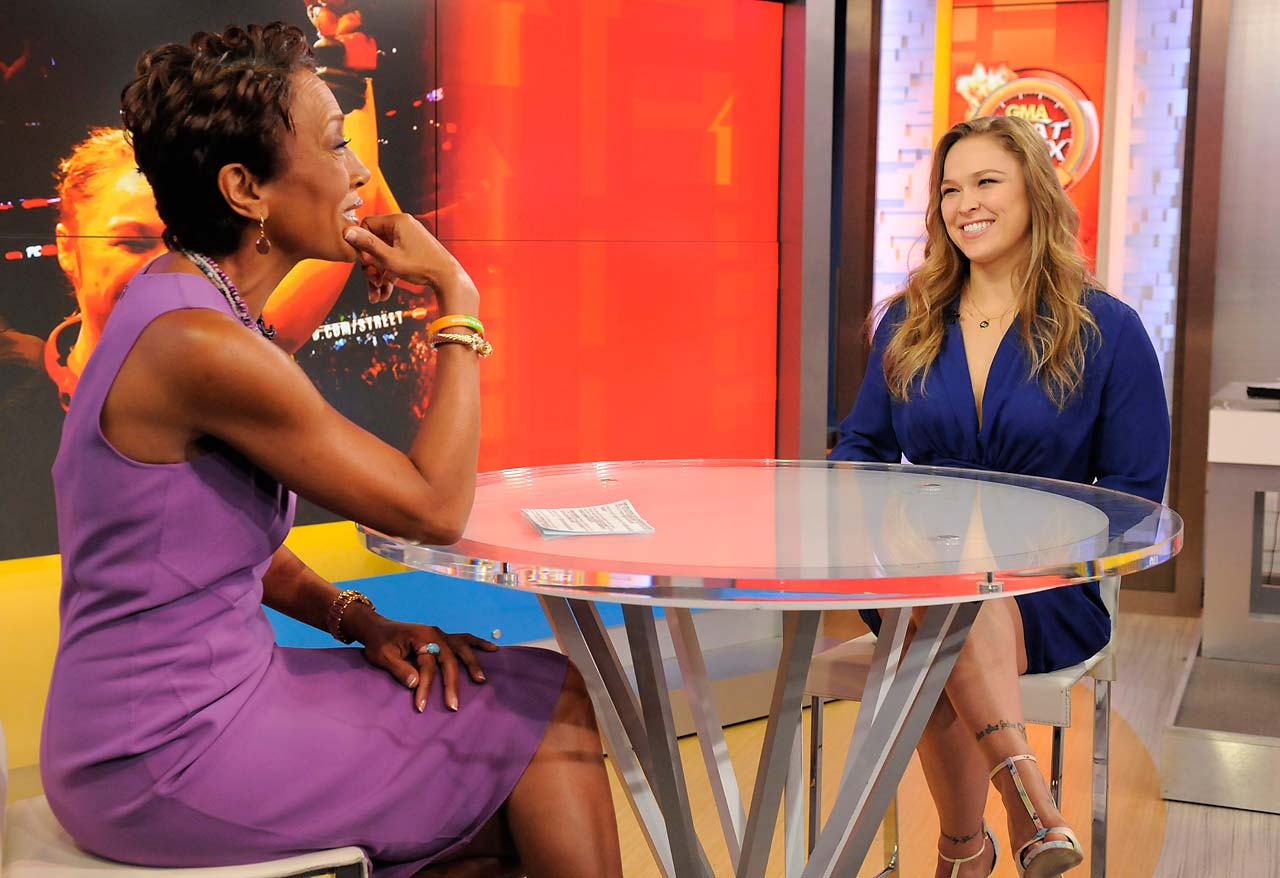 "Ronda Rousey  and Robin Roberts on the ""Good Morning America"" set."