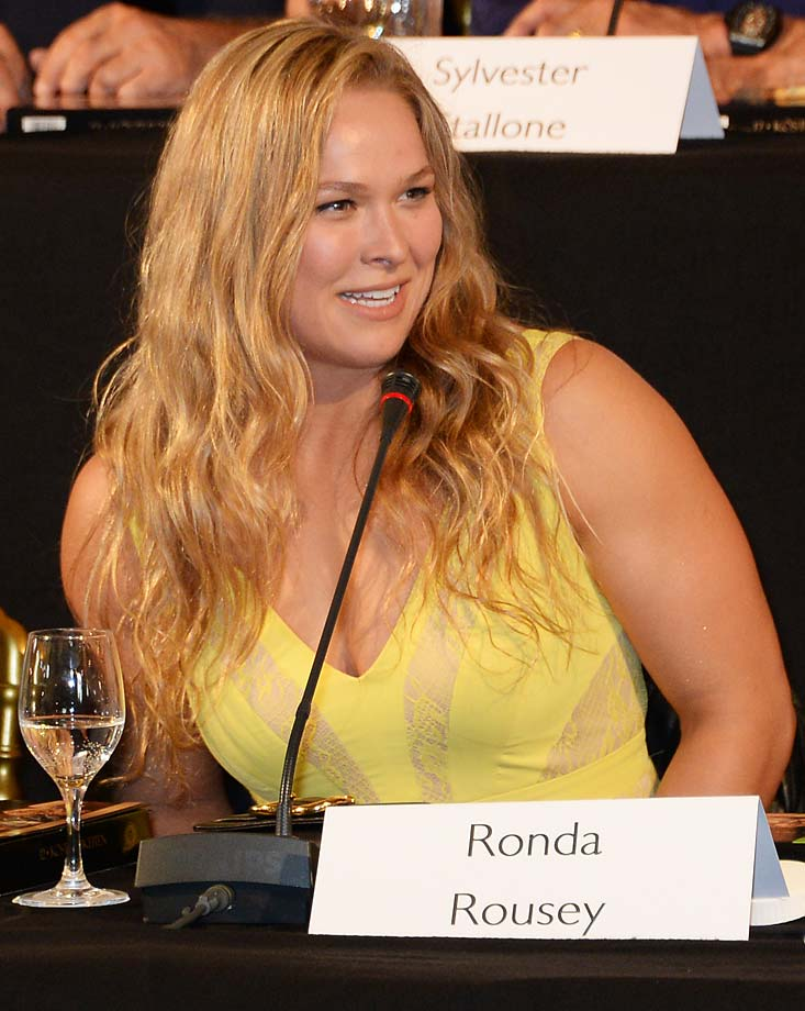 "Ronda Rousey attends a photocall for ""The Expendables 3"" at the Carlton Hotel in Cannes, France."
