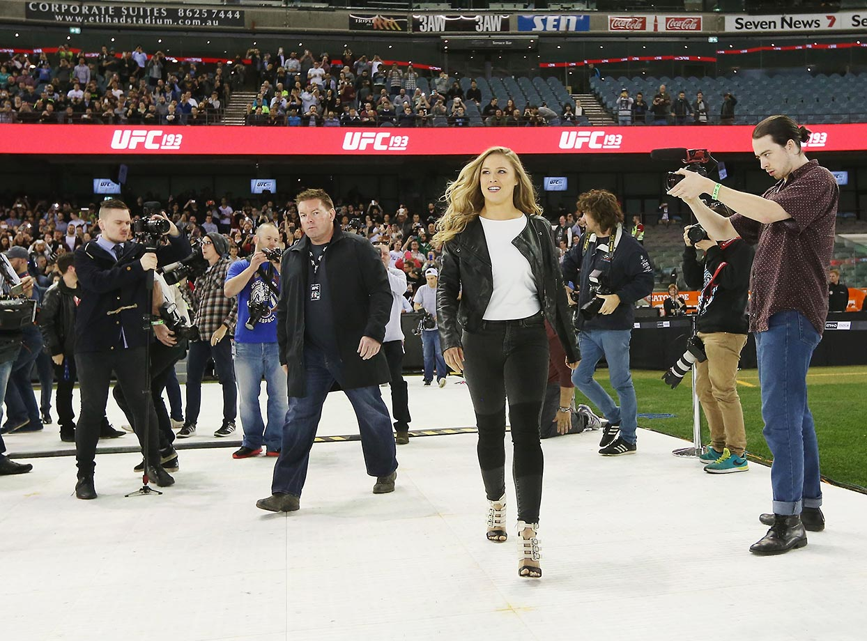 Ronda Rousey arrives during a UFC 193 media event at Etihad Stadium.