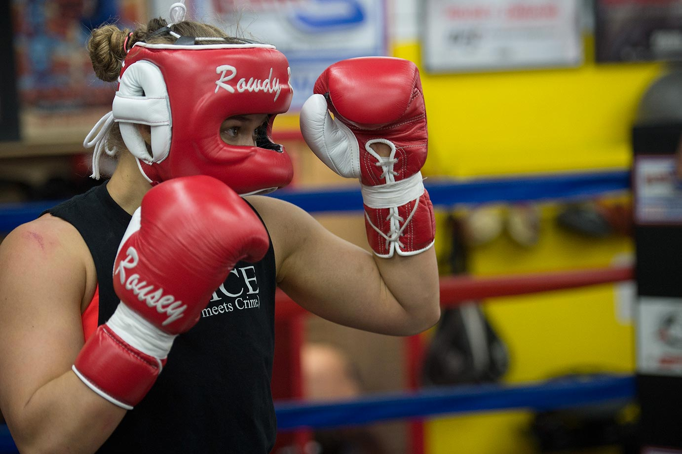 Ronda Rousey spars with a partner during a media training session.