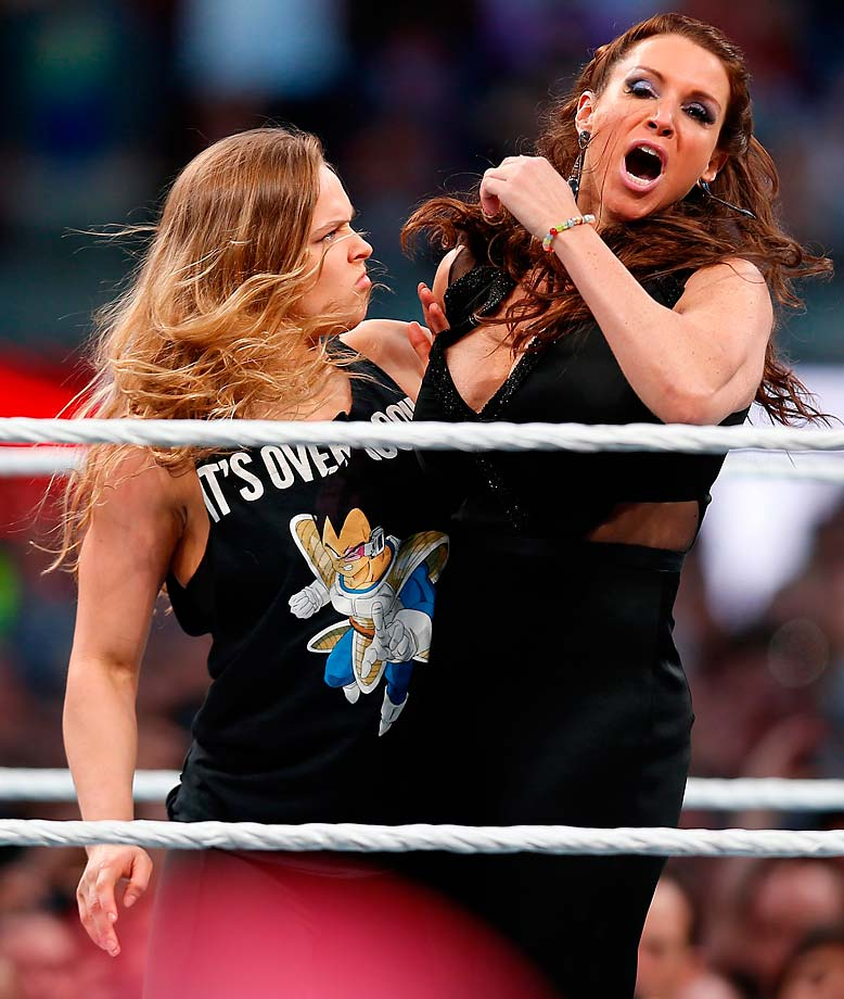 Ronda Rousey and Stephanie McMahon at WrestleMania 31 in Santa Clara