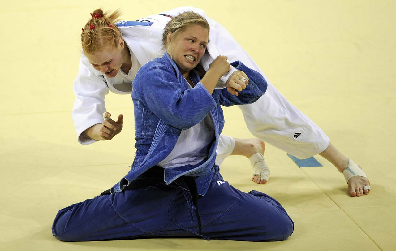 Rousey and Germany's Annett Boehm compete in the 70 kg judo bronze-medal match at the 2008 Beijing Olympic Games. Rousey would win the match and the bronze.