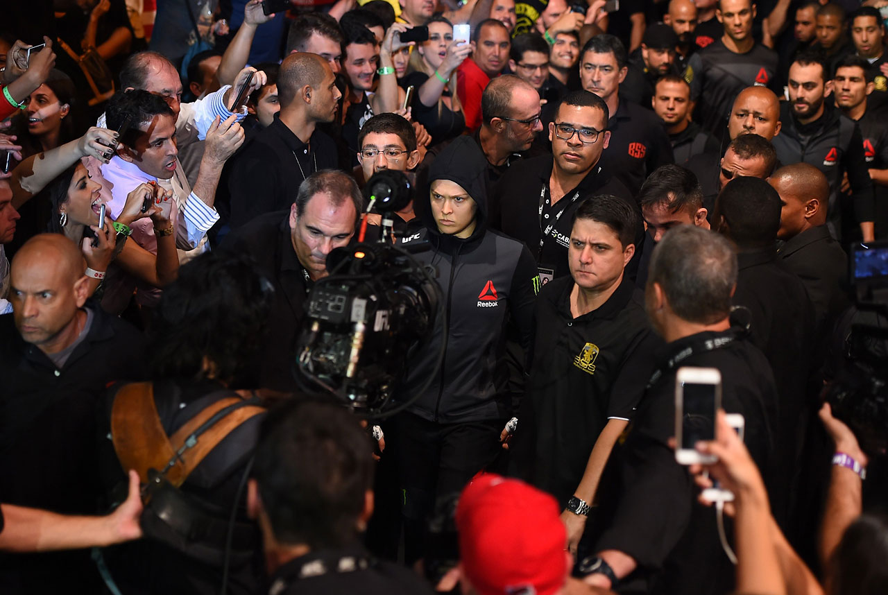 Ronda Rousey entering the ring.
