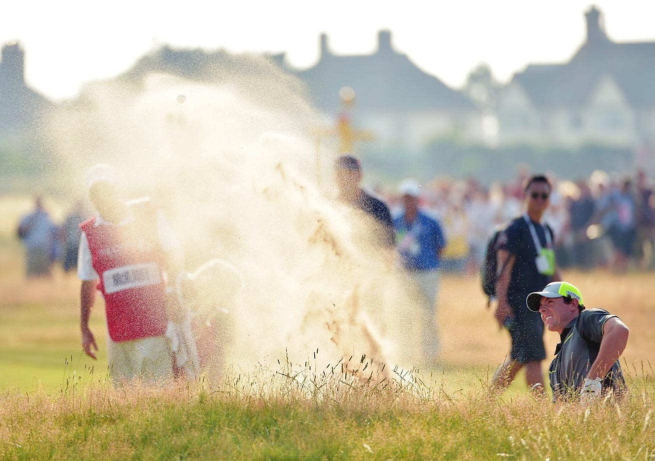 Rory McIlroy of Ireland plays out of a bunker during the second round of the 2014 Open Championship at Royal Liverpool Golf Club in Liverpool, England.